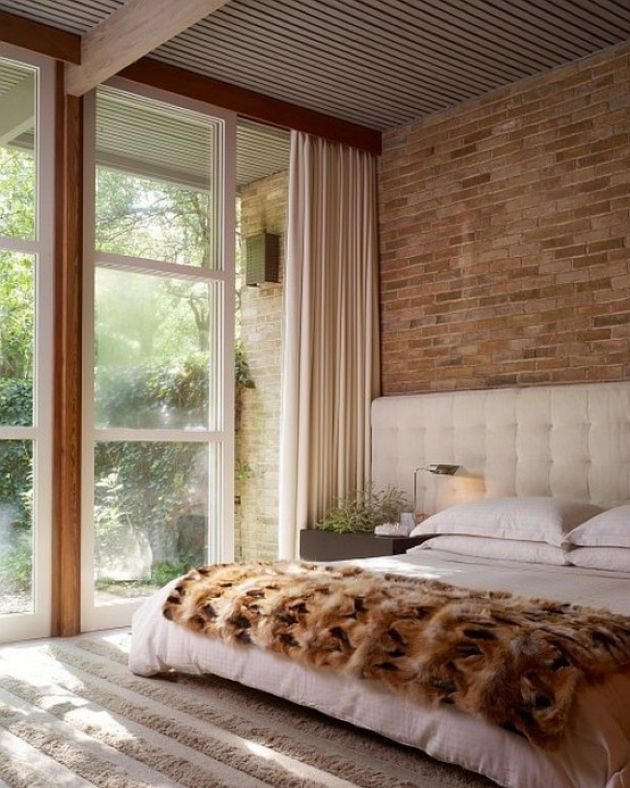 Bedroom With Statement Brick Wall
