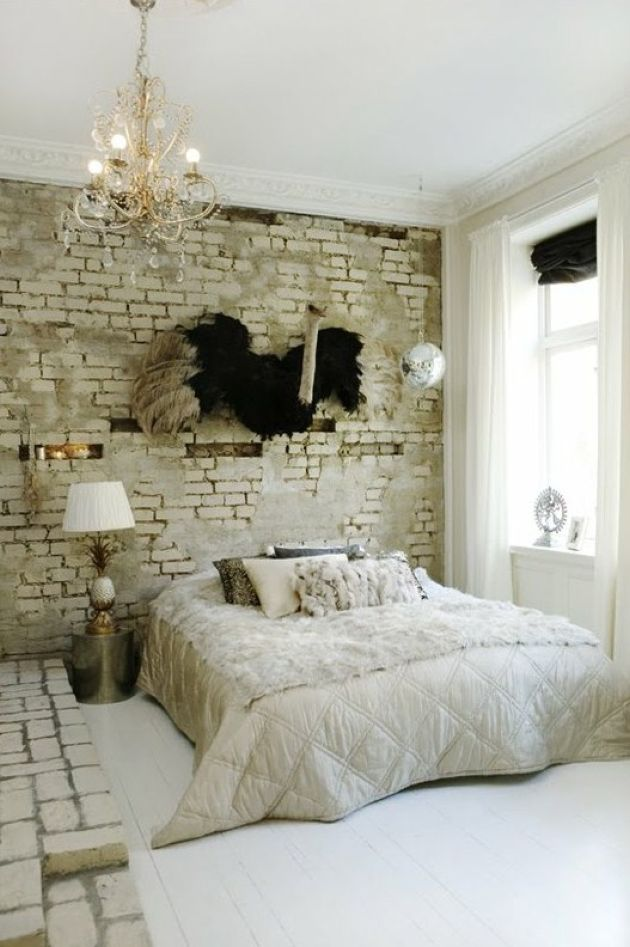 Bedroom With White Brick Wall And Platform