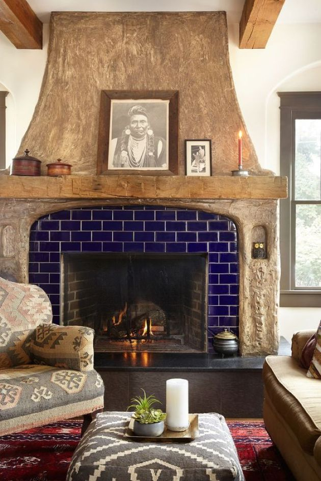 Bold Fireplace With Bright Blue Tiles And Painted Wood