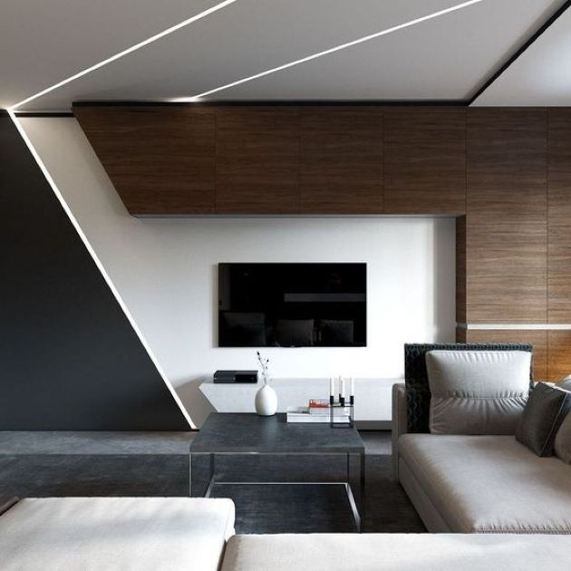 Bold Minimalist Living Room With Dark Stained Wood And Geometric Touches