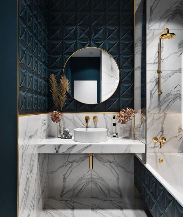 Bright Bathroom With Teal Panels Plus White Marble And Gold Hardware