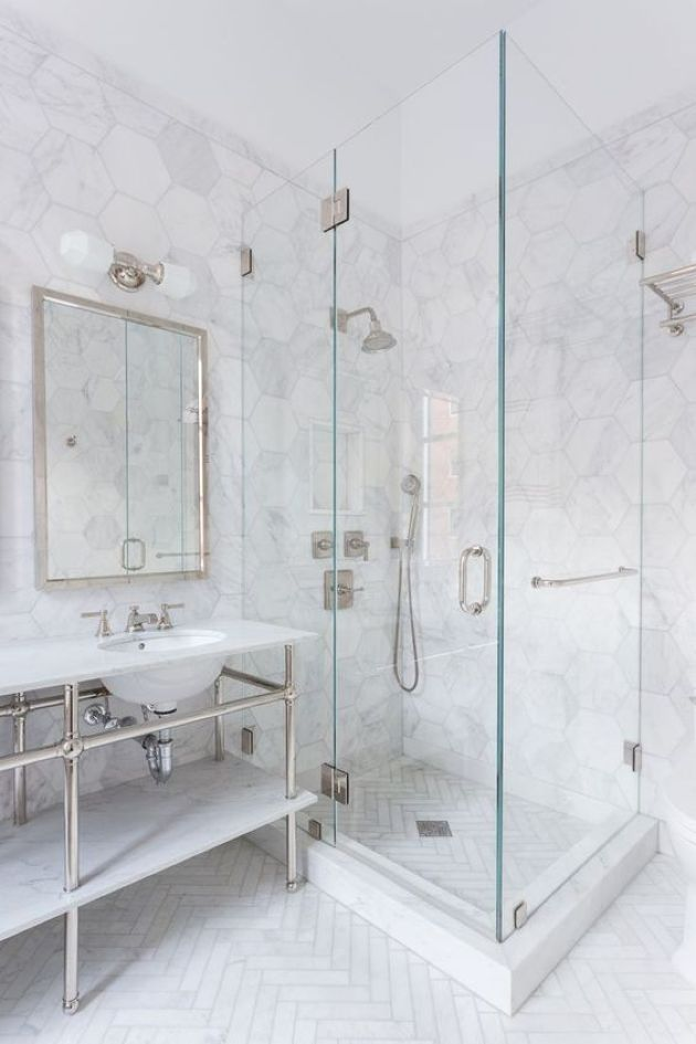 Chic Bathroom With White Marble Hex Tiles And A Herringbone Pattern