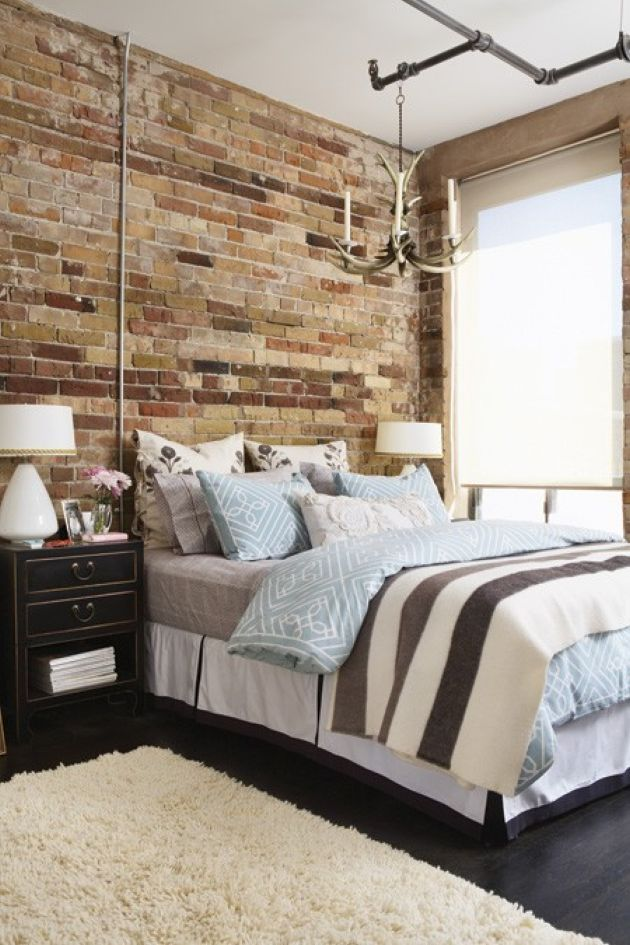 Chic Bedroom With Art Deco Touches And A Fake Brick Wall