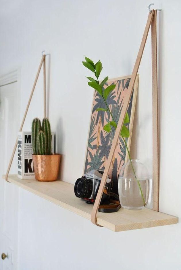 Chic Wood And Leather Hanging Shelves