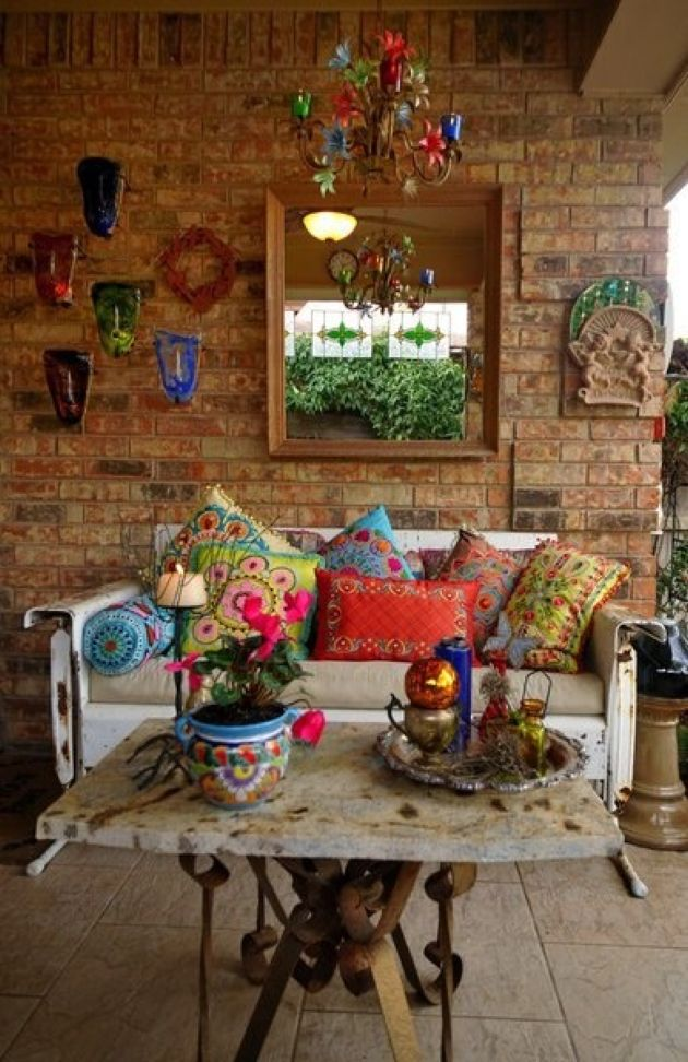 Colorful Boho Rug With Bright Masks Plus Lanterns