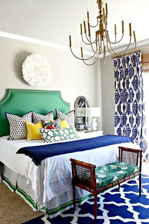 Colorful Eclectic Bedroom In Bold Blue And Emerald Green