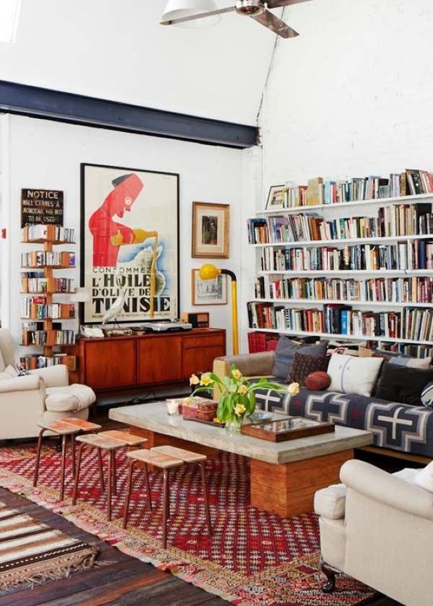 Colorful Eclectic Living Room With Open Bookshelves