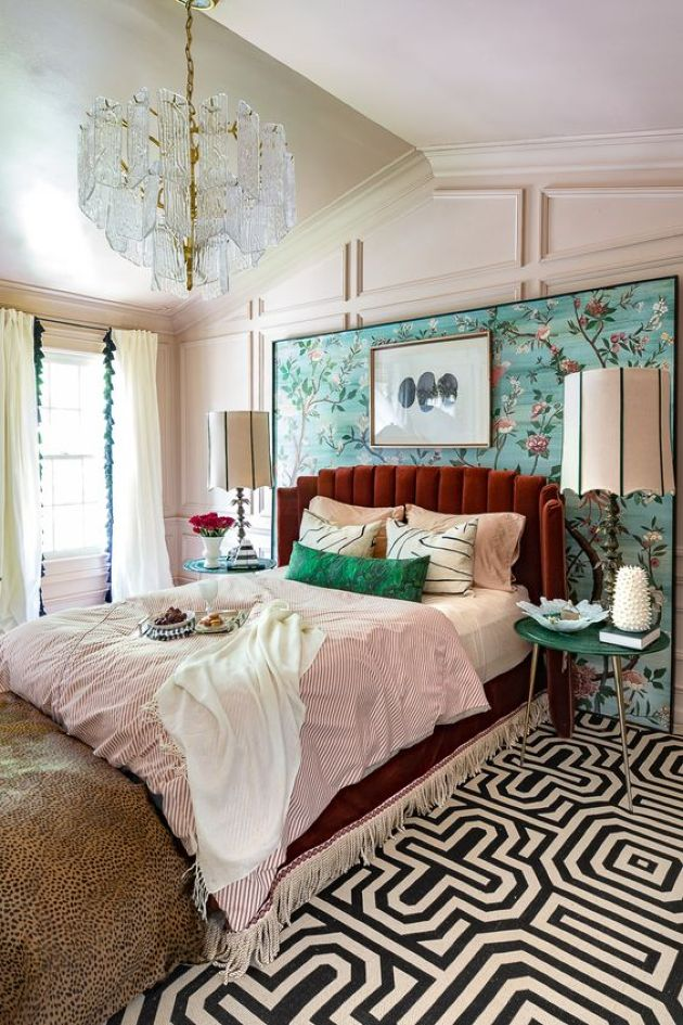 Colorful Eclectic Sleeping Area Done In Aqua And Emerald Touches