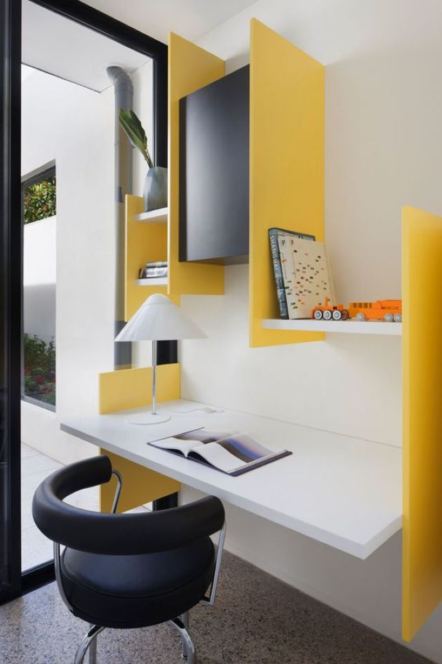 Colorful Modern Workspace With A Floating Desk