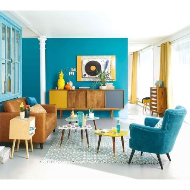 Colorful Retro Living Room In Bright Blue, Mustard And Yellow Furniture
