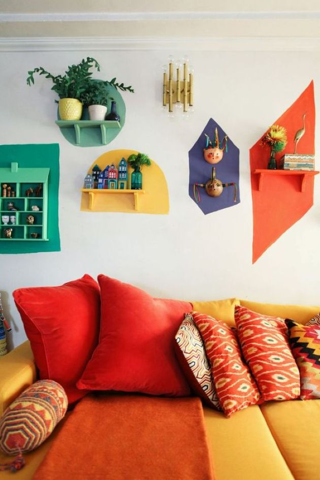 Colorful Retro Living Room With A Yellow And Red Sofa And Bright Touches
