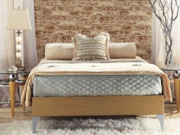 Contemporary Bedroom In Beige And Grey With A Faux Brick Wall
