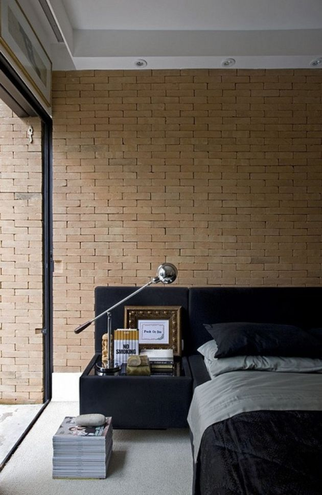 Contemporary Bedroom With A Faux Brick Wall Of A Sandy Shade