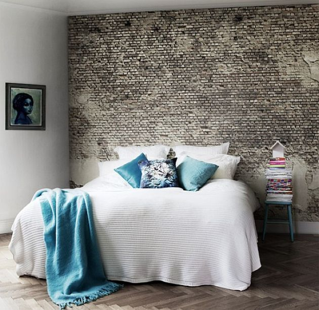 Contemporary Bedroom With A Faux Brick Wall