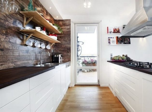 Contemporary Meets Rustic Kitchen With White Cabinets