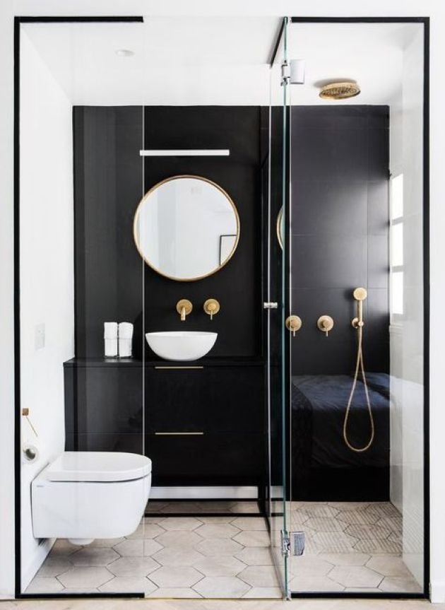 Contrasting Small Bathroom Design With A Black Statement Wall And Vanity