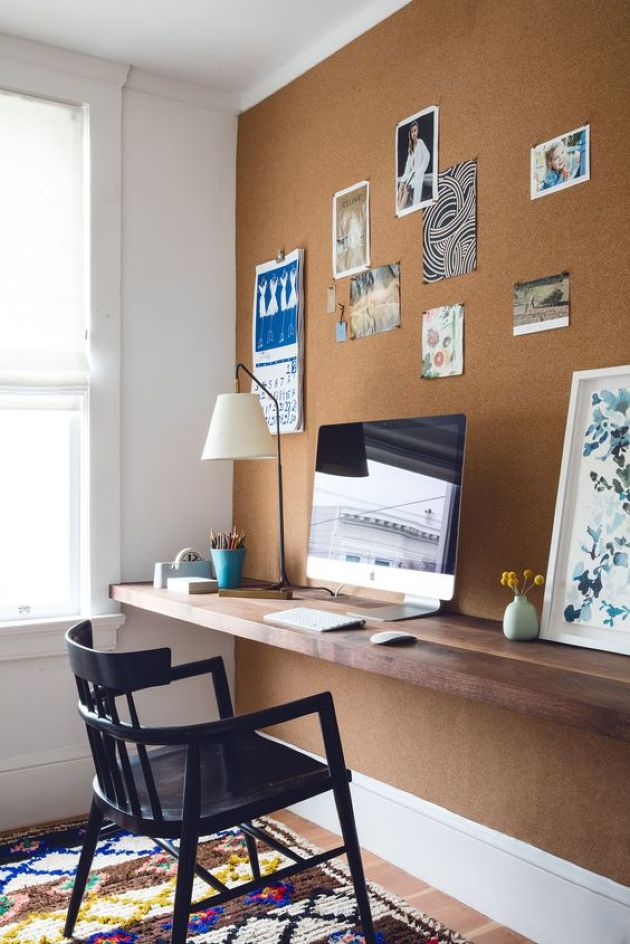 Cork Wall And A Floating Wooden Desk