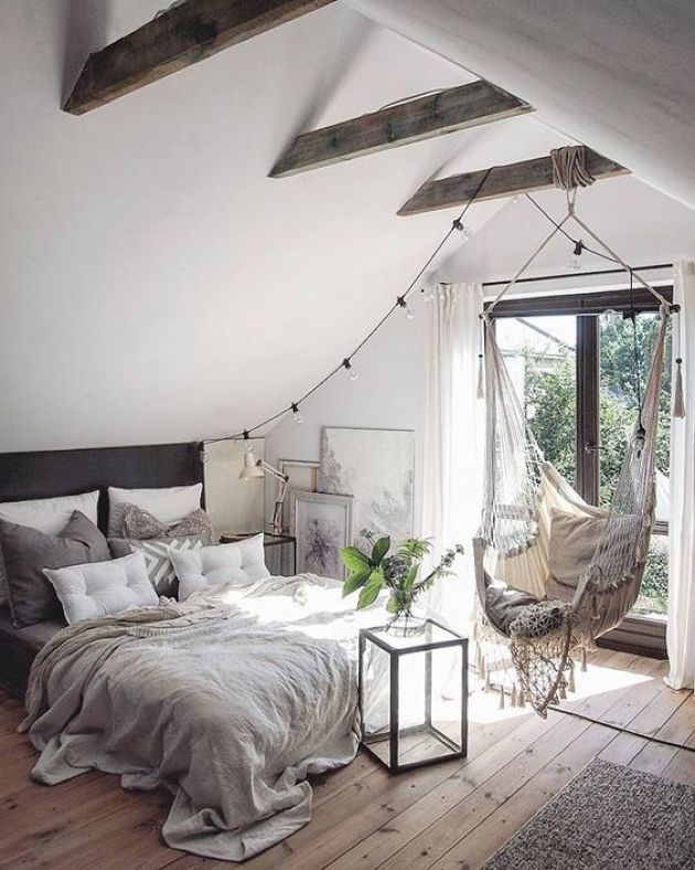 Cozy Neutral Attic Bedroom With Much Light Plus Stained Beams