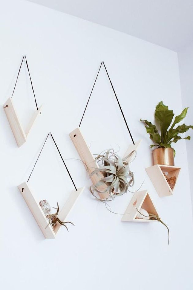 Creative Minimalist Shelves With Sleek Triangular Shapes And Air Plants