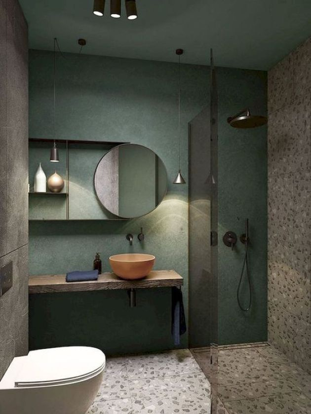 Creative Small Bathroom Design With A Green Wall And Terrazzo Flooring