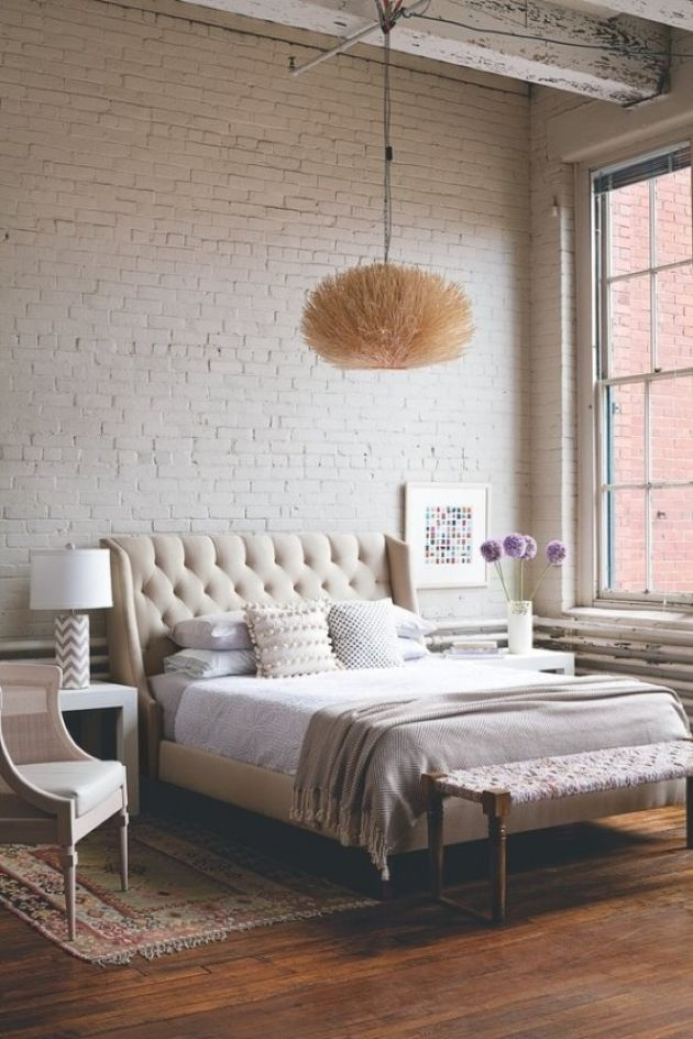 Cute Girlish Bedroom With A Vintage Feel And White Brick Statement Wall