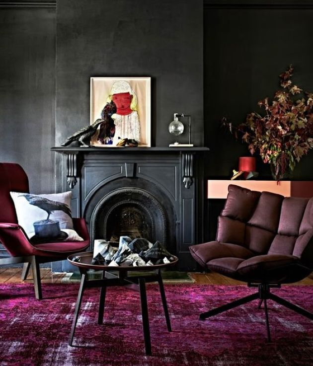 Dark Moody Living Room With Black Walls