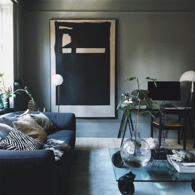 Dark Moody Living Room With Grey Walls And A Navy Sofa