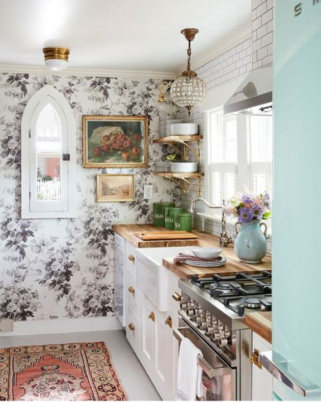 Eclectic Kitchen Decor With Traditional White Cabinets With Butcherblock Countertops