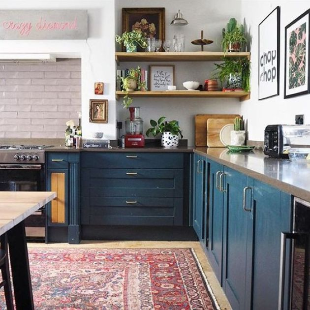 Eclectic Kitchen With A Boho Rug And Navy Cabinets