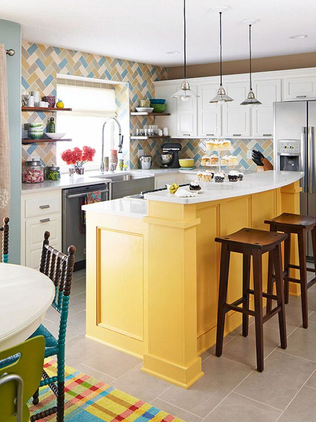 Eclectic Kitchen With Farmhouse Style Cabinets In White And Yellow