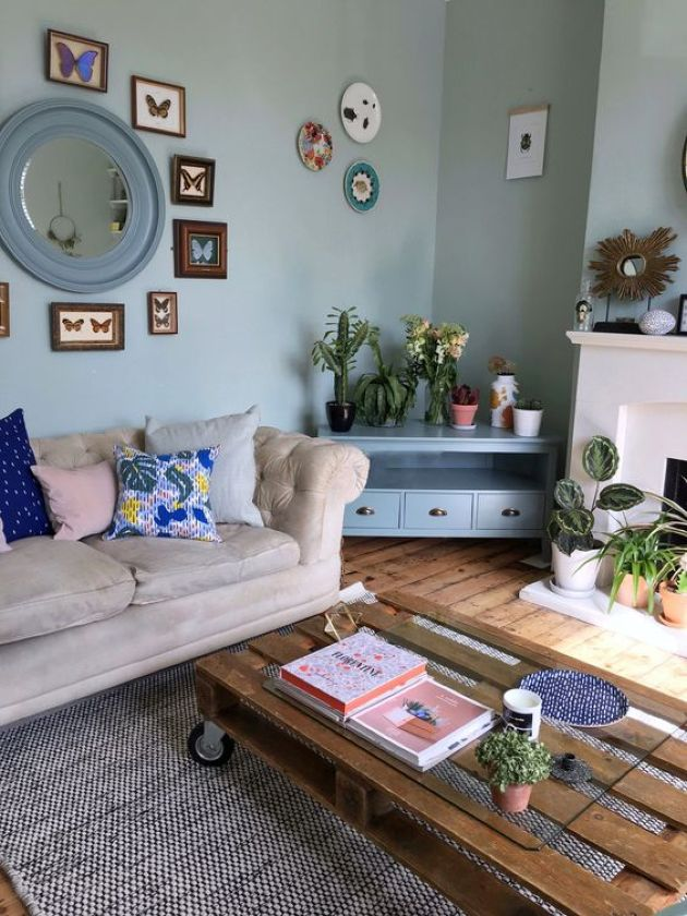 Eclectic Space With A Pallet Coffee Table