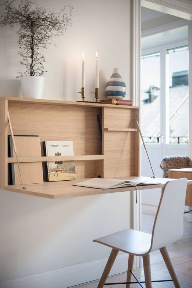 Elegant Contemporary Murphy Desk With Some Storage Space And A Comfy Tabletop