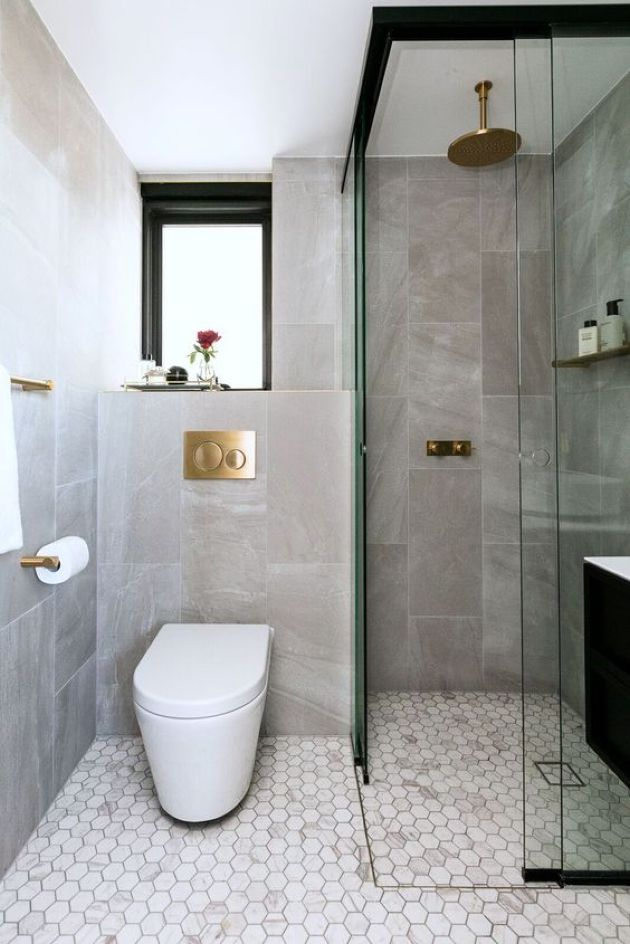 Elegant Small Contemporary Bathroom Design With Stone And Marble Tiles