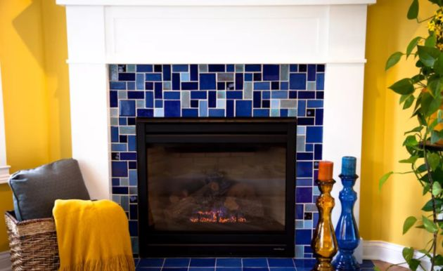 Fireplace Clad With Bright Mosaic Blue Tiles