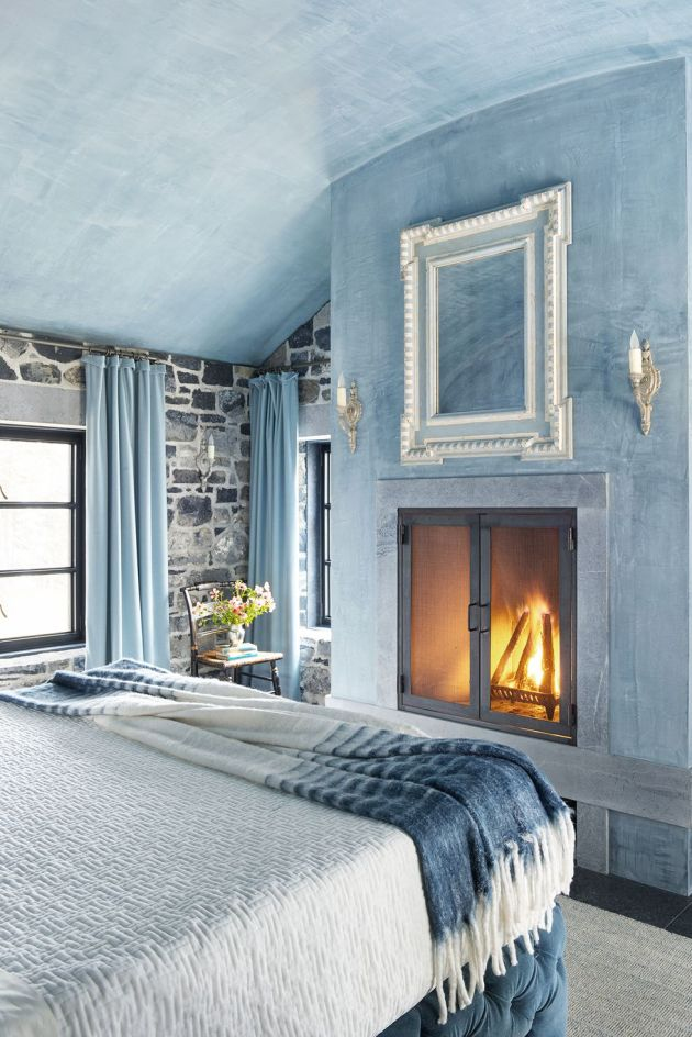 Fireplace Decorating Ideas Surrounded By A Custom Blue Paint