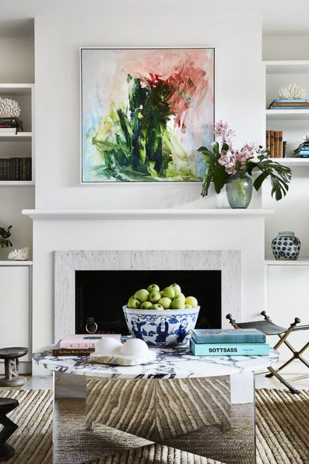 Fireplace Decorating Ideas With Artwork And Flowers