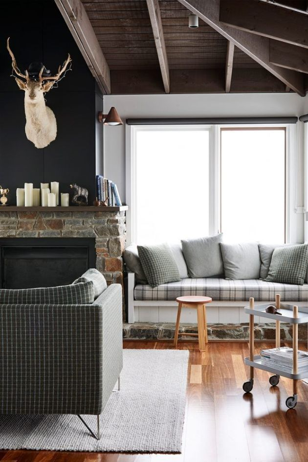 Fireplace Decorating Ideas With Candles And Plaid Upholstered Window Seat