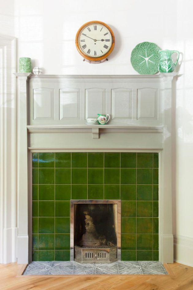 Fireplace Decorating Ideas With Deep Green Glazed Tiles