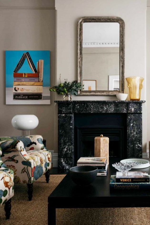 Fireplace Decorating Ideas With Modern And Bright Artwork And Shapely Table Lamp