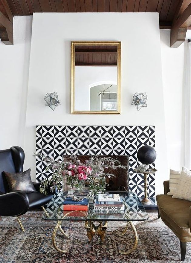Fireplace With Bold Geometric Tiles Plus Contrasting Colors And Pattern