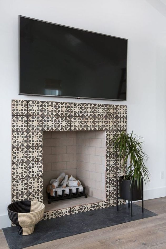 Fireplace With Chic Patterned Earthy Tone Tiles And Blush Painted Brick Inside