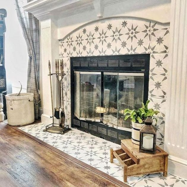 Fireplace With Star Patterned Grey And White Tiles
