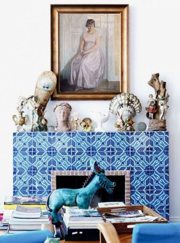Fireplace With Super Bold Blue And Turquoise Patterned Tiles