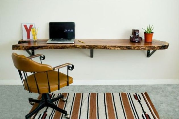 Floating Desk Of A Wooden Slab With A Live Edge