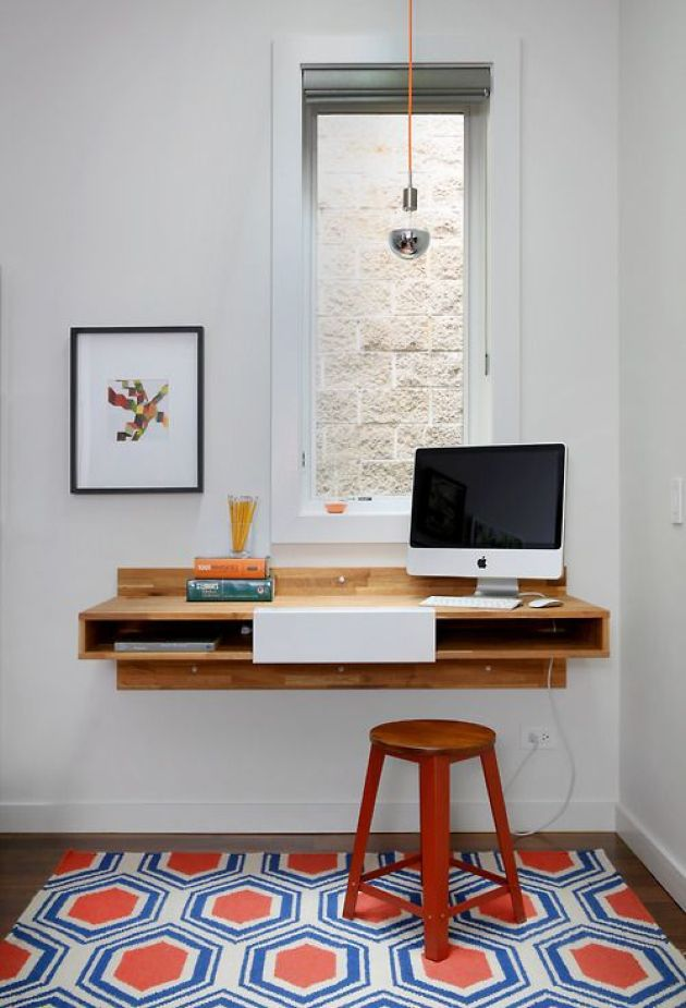 Floating Mid-Century Modern Desk With Storage Space Inside