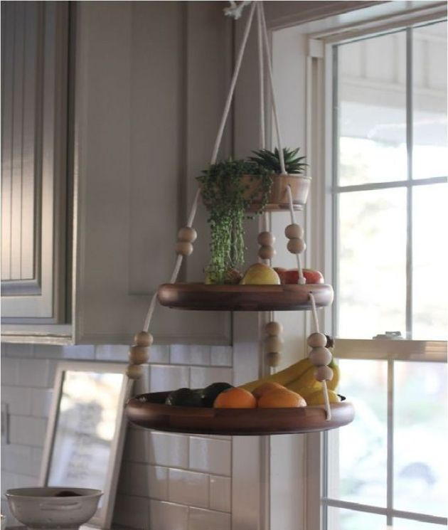 Fun Hanging Shelf For Fruit With Beads And Ropes And Some Succulents