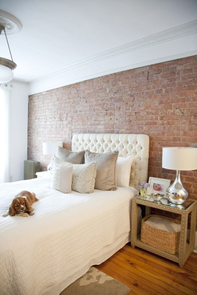 Gorgeous Bedroom Combo With Brick Wall And Hardwood Floors