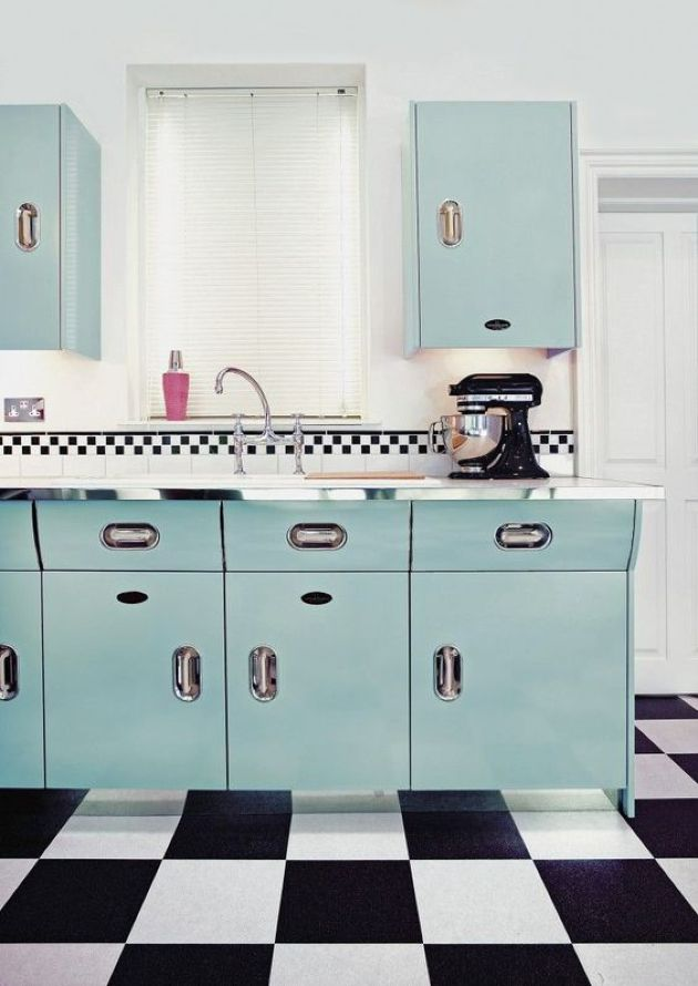 Gorgeous Retro Blue Kitchen With A Black And White Tile Floor