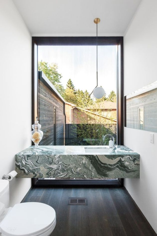 Green Marble Modern Vanity In A Small Powder Room With A View