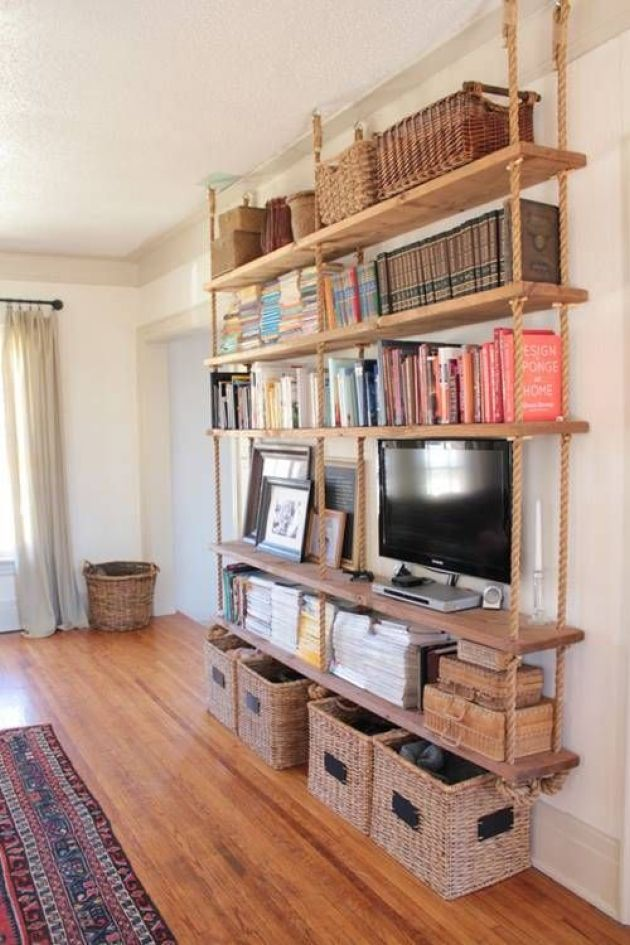 Large Hanging Shelving Unit With Thick Rustic Wooden Shelves And Thick Ropes